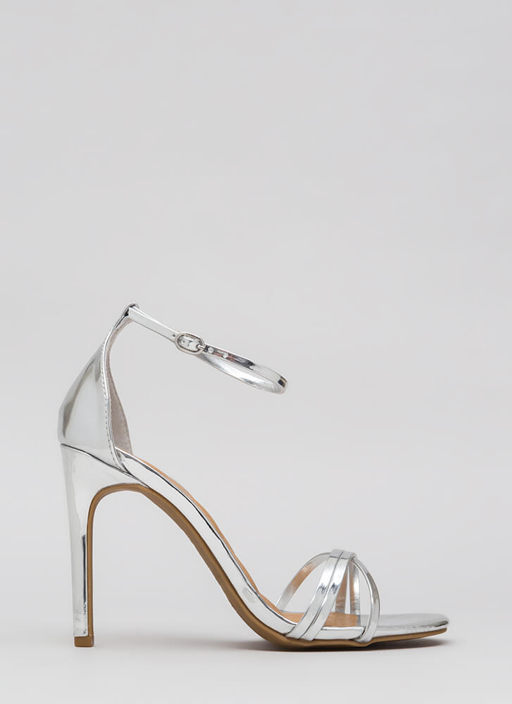 The Skinny Faux Patent Strappy Heels SILVER