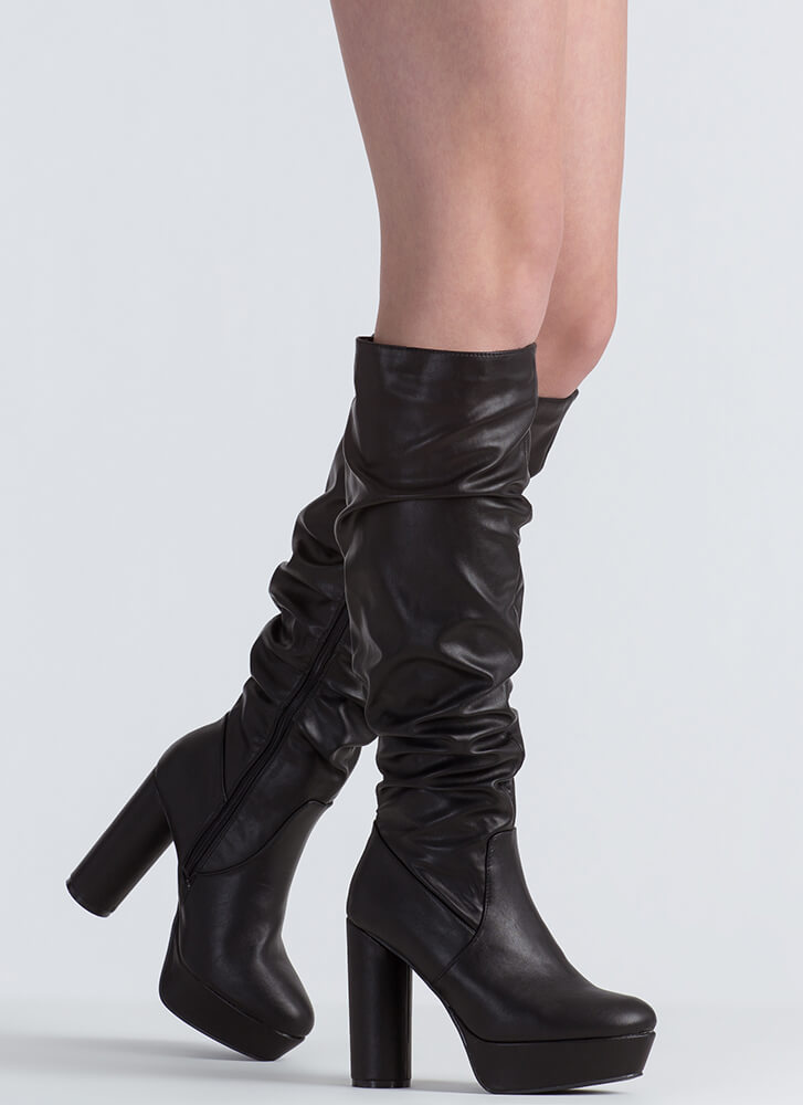 Slouch Factor Faux Leather Chunky Boots BLACK