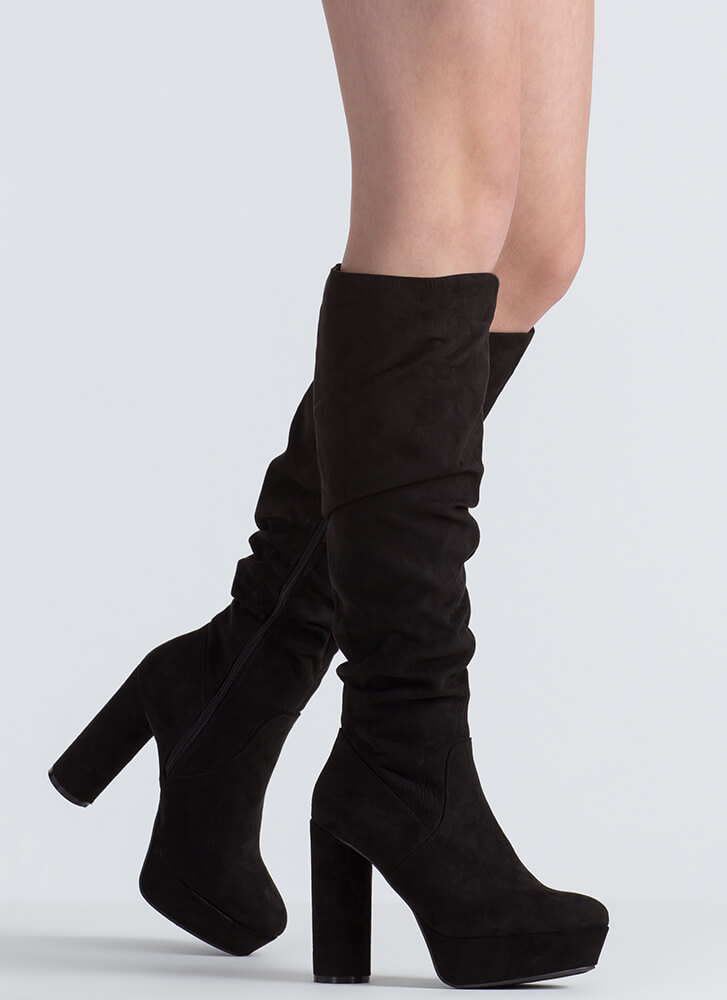 Slouch Factor Faux Suede Chunky Boots BLACK