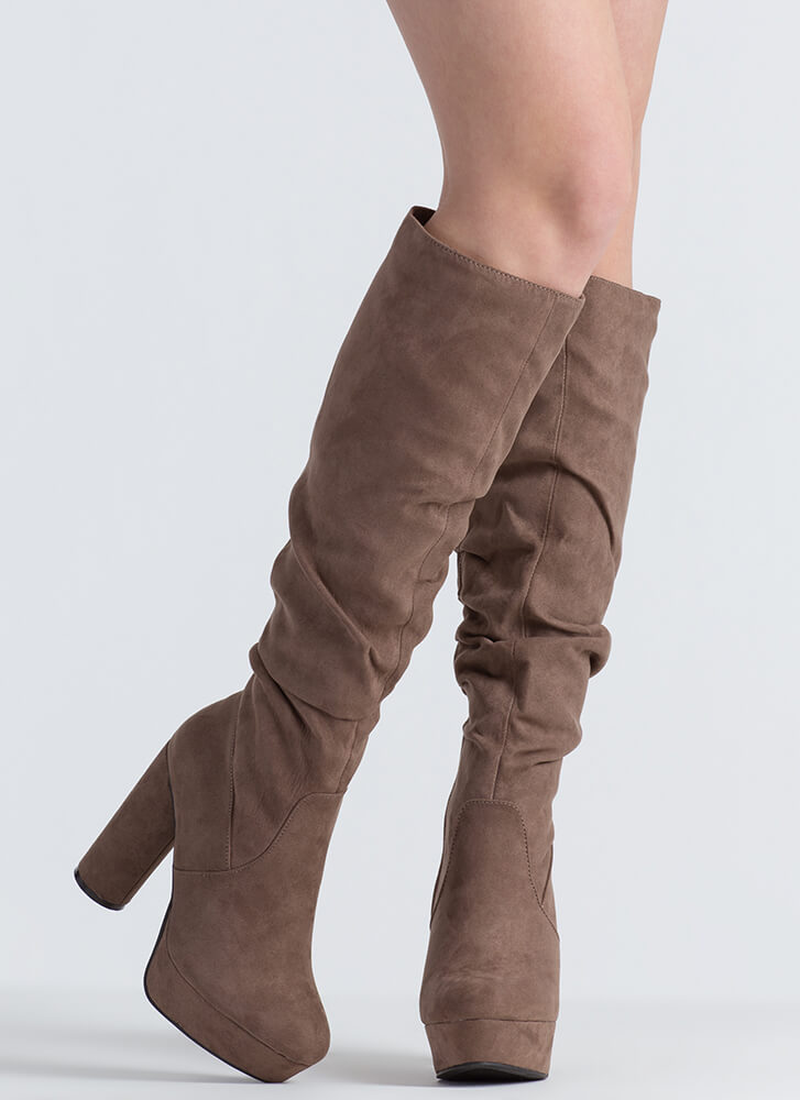 Slouch Factor Faux Suede Chunky Boots TAUPE