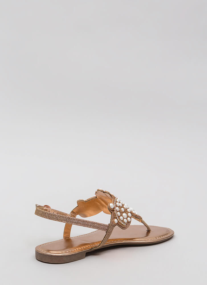 Pearls And Jewels Glittery Thong Sandals ROSEGOLD