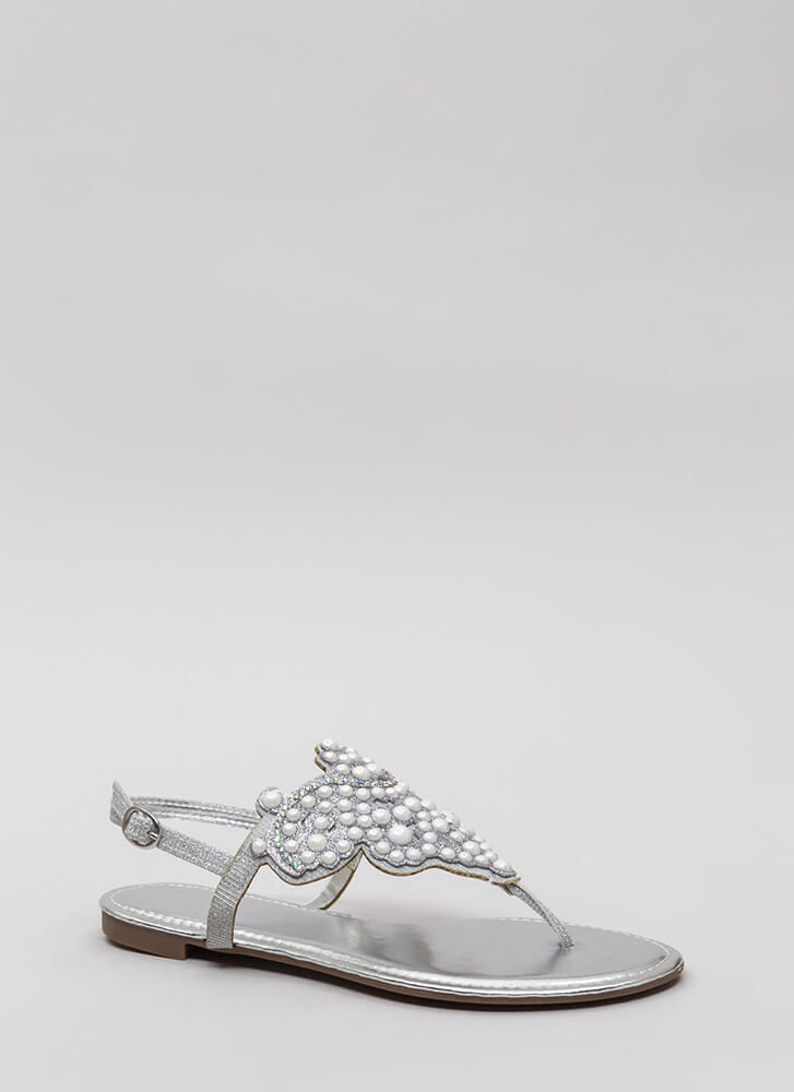 Pearls And Jewels Glittery Thong Sandals SILVER
