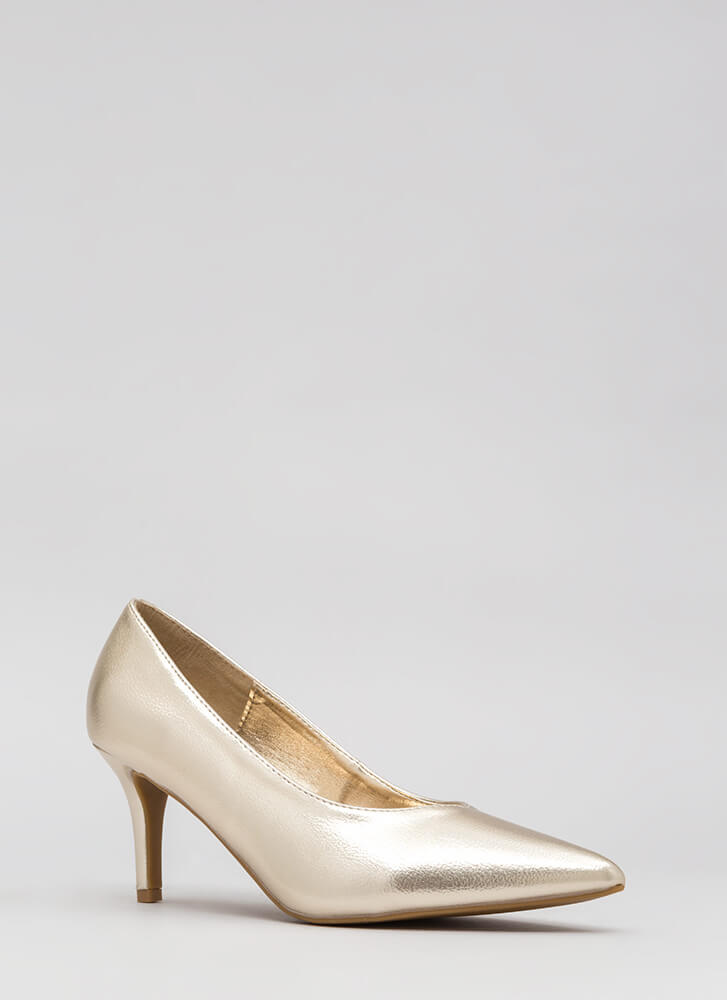 Short To The Point Faux Leather Pumps GOLD (Final Sale)