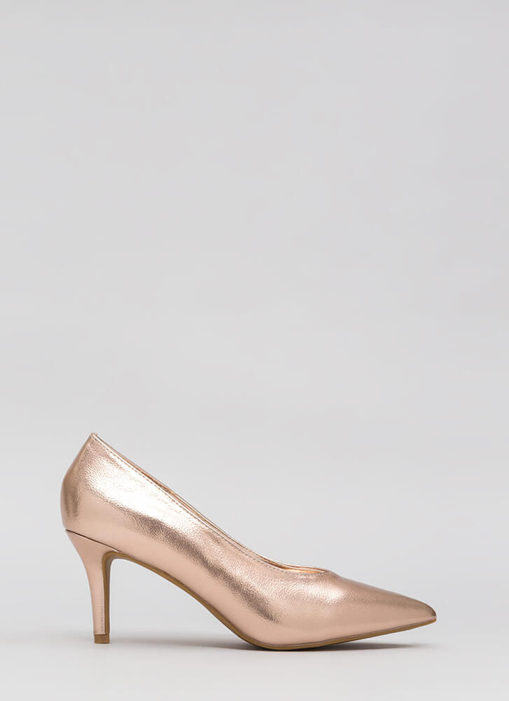 Short To The Point Faux Leather Pumps ROSEGOLD