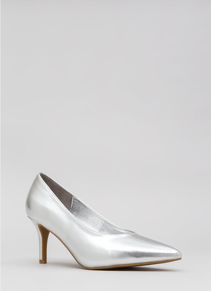 Short To The Point Faux Leather Pumps SILVER (Final Sale)