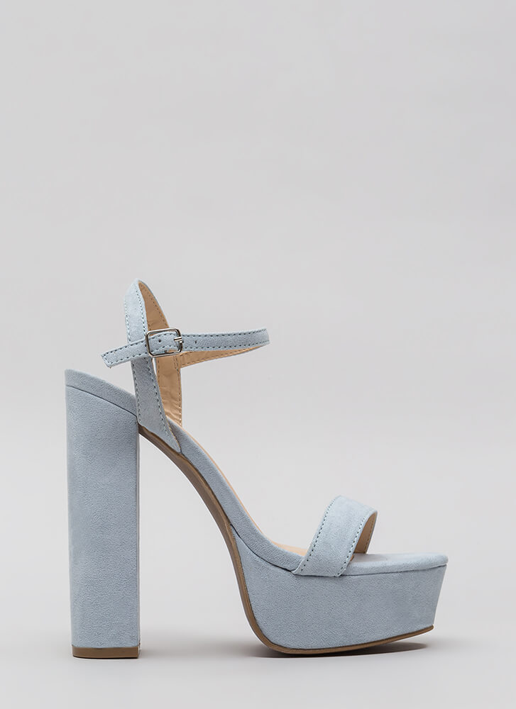 Tall Tale Chunky Ankle Strap Platforms BABYBLUE