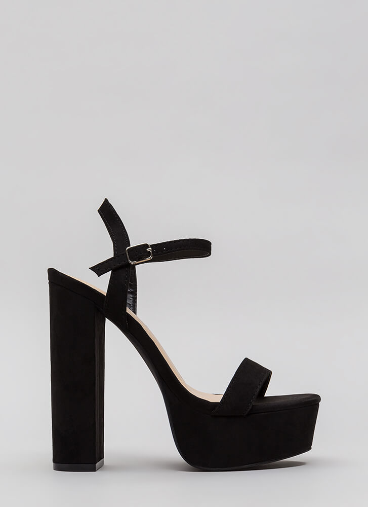 Tall Tale Chunky Ankle Strap Platforms BLACK
