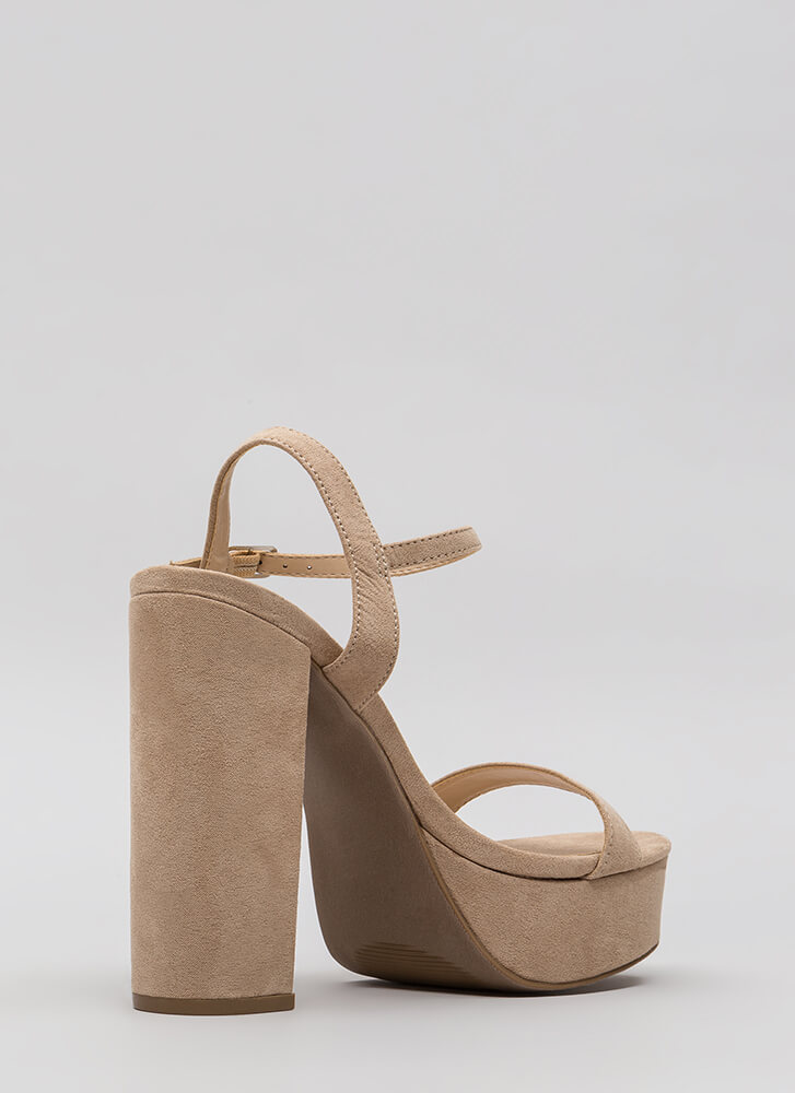 Tall Tale Chunky Ankle Strap Platforms NATURAL