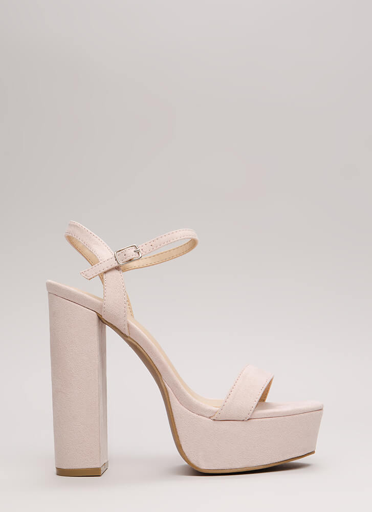 Tall Tale Chunky Ankle Strap Platforms NUDE