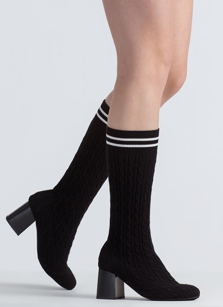 Turn Up To Class Striped Knit Booties BLACK