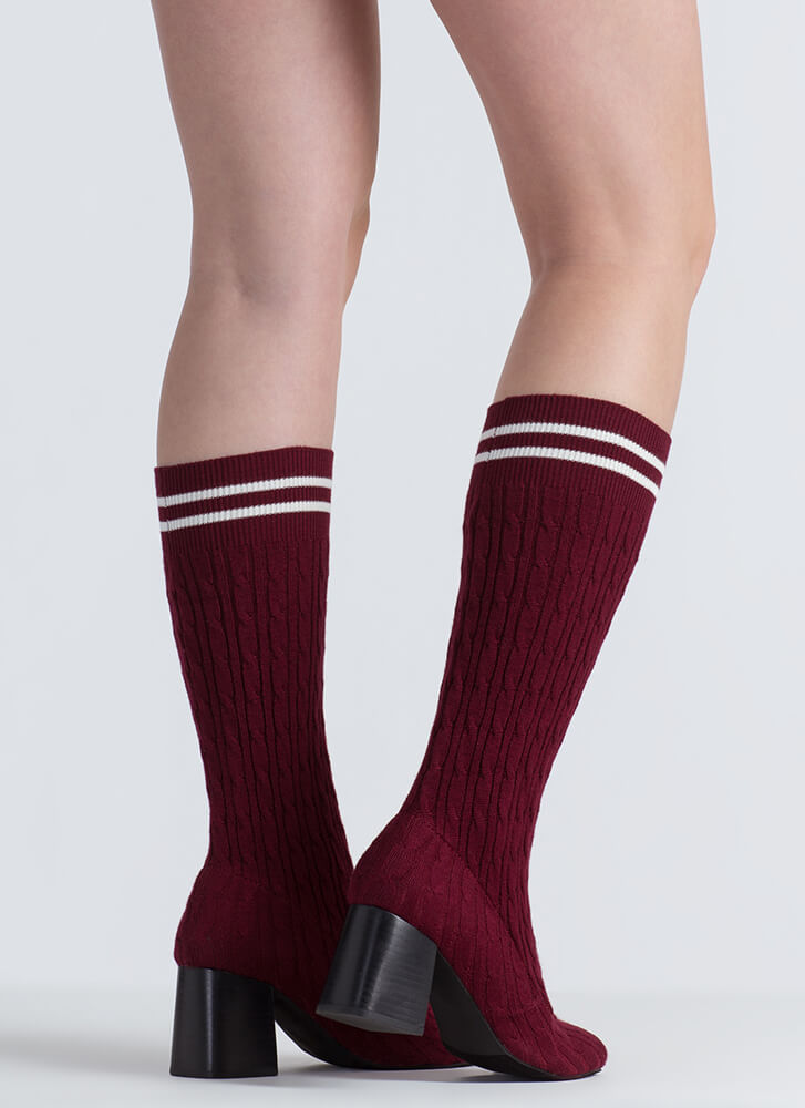 Turn Up To Class Striped Knit Booties BURGUNDY