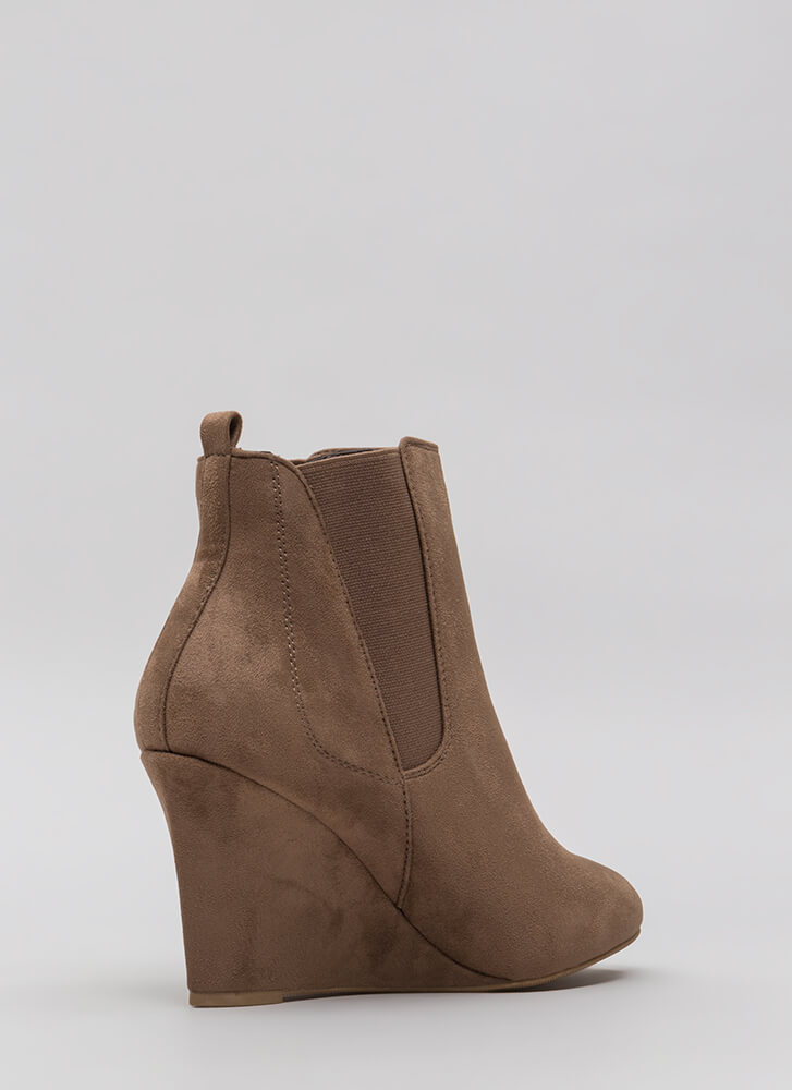 Sure Footing Faux Suede Wedge Booties TAUPE