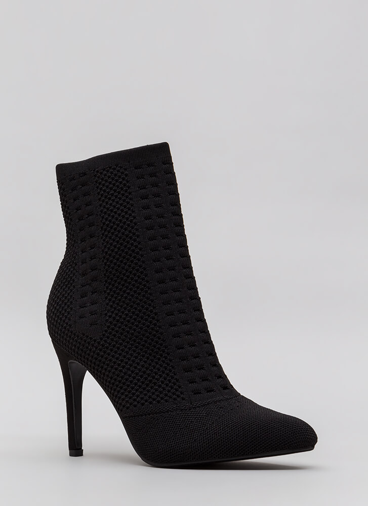 Add A Little Texture Pointy Knit Booties BLACK