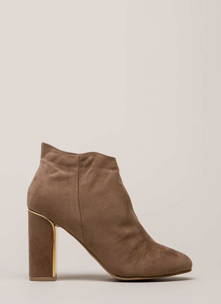 Walk Away Chunky Metallic Trim Booties TAUPE