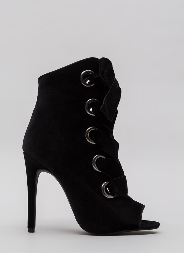 Really Big Deal Lace-Up Velvet Booties BLACK