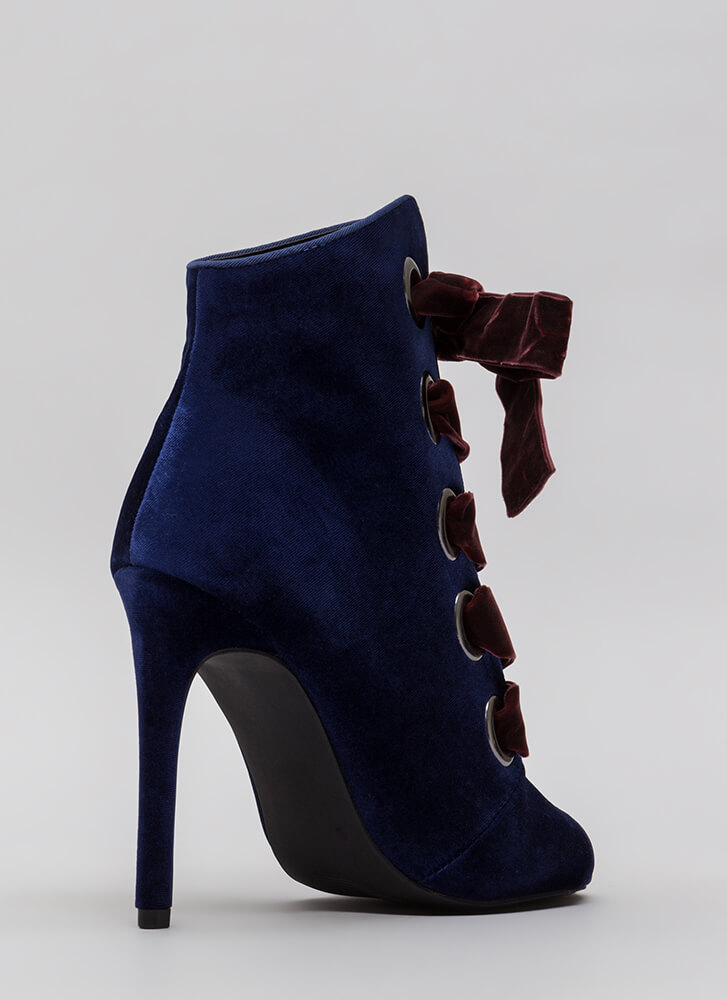 Really Big Deal Lace-Up Velvet Booties NAVY