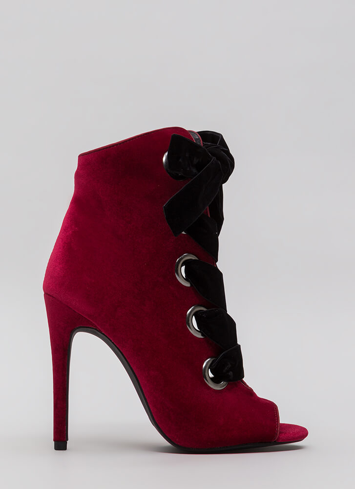 Really Big Deal Lace-Up Velvet Booties WINE