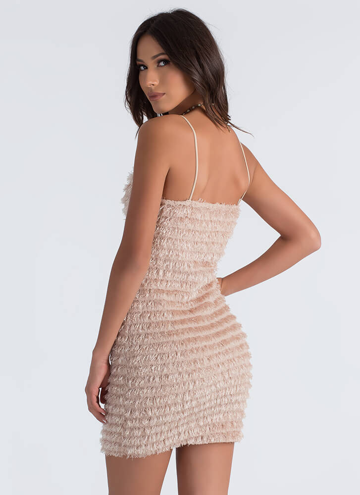Fringe Forever Fuzzy Tiered Dress TAUPE