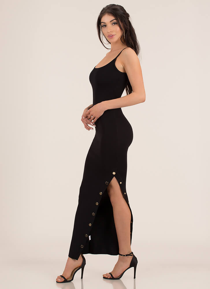 Oh Snap Button Slit Maxi Dress BLACK