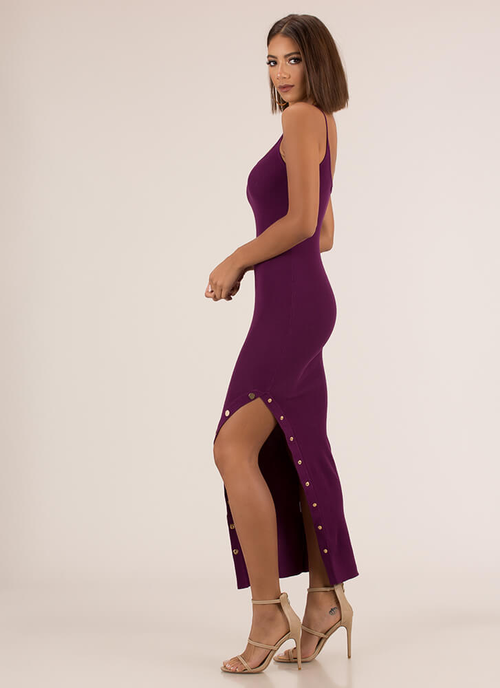 Oh Snap Button Slit Maxi Dress PLUM