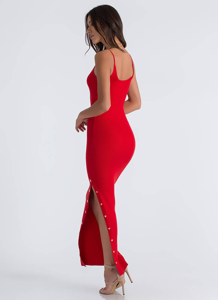 Oh Snap Button Slit Maxi Dress RED