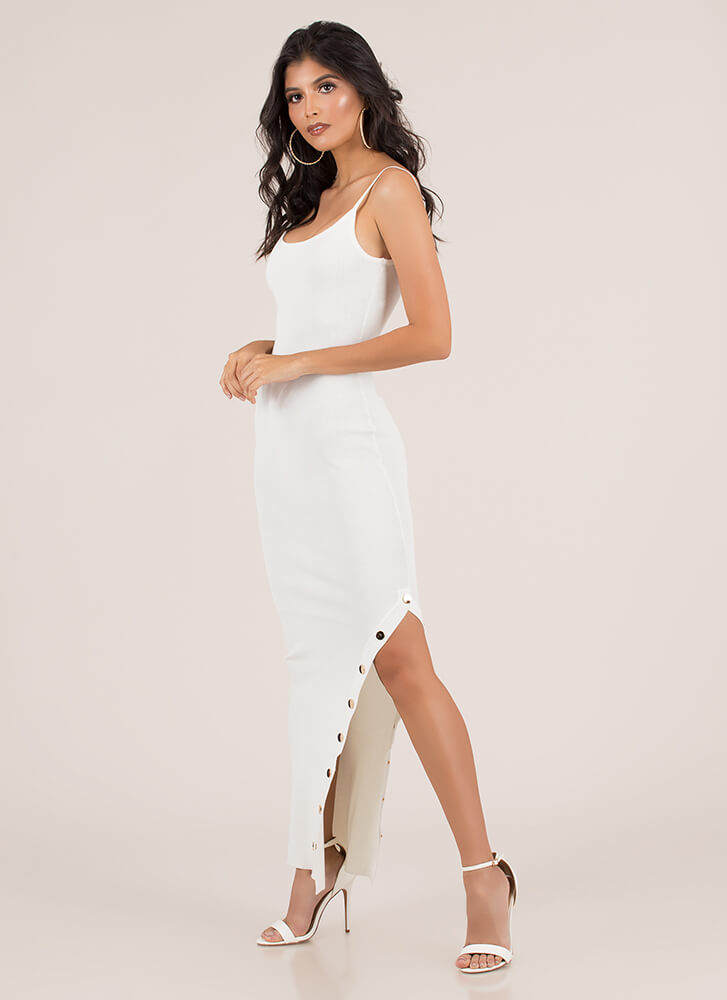 Oh Snap Button Slit Maxi Dress WHITE