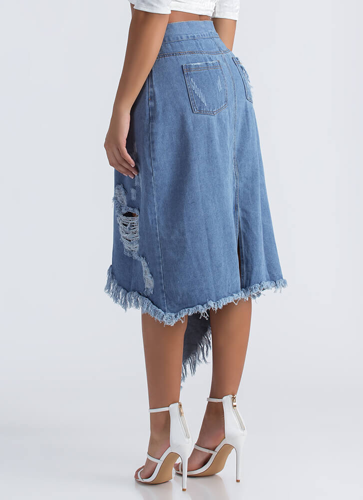 Ring It High-Low Distressed Denim Skirt BLUE
