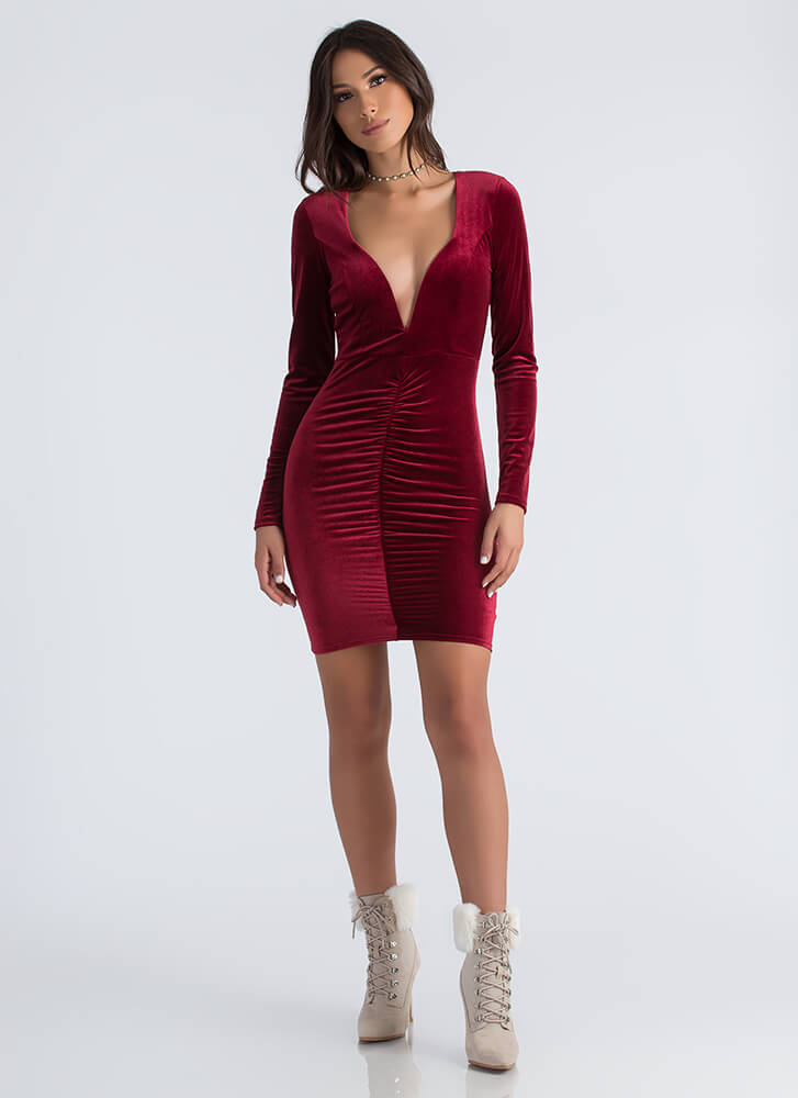 Ruched And Ready Plunging Velvet Dress BURGUNDY