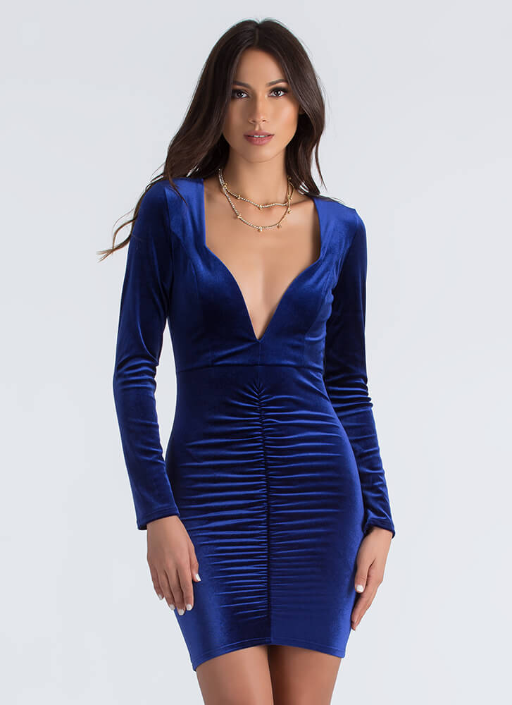 Ruched And Ready Plunging Velvet Dress ROYAL