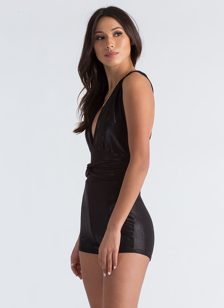 In the Loop Strappy Plunging Romper BLACK