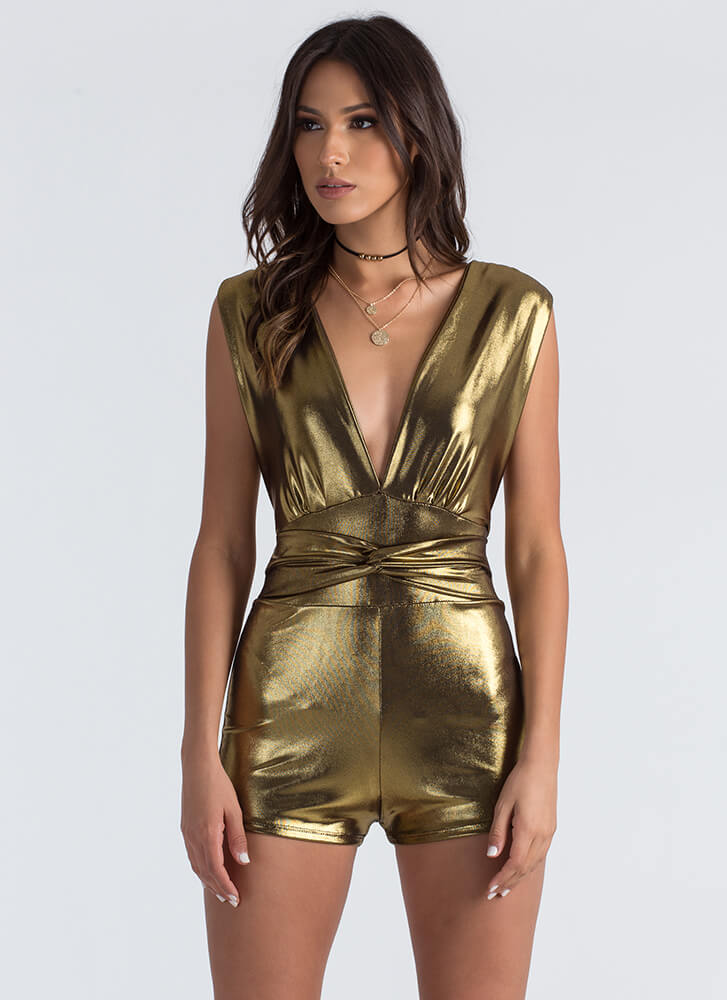 In the Loop Strappy Plunging Romper GOLD