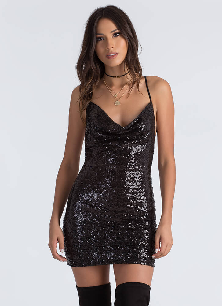 Cowl At The Moon Sequined Minidress BLACK