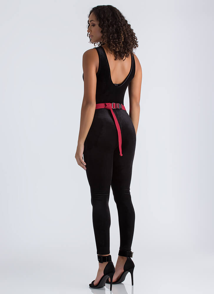 Give You The Scoop Velvet Jumpsuit BLACK