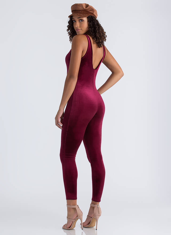 Give You The Scoop Velvet Jumpsuit BURGUNDY