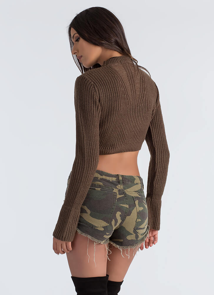 Opening Day Cut-Out Cropped Sweater OLIVE