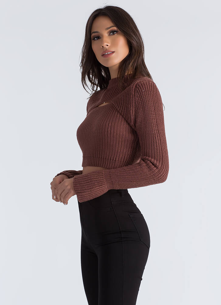 Opening Day Cut-Out Cropped Sweater REDBROWN