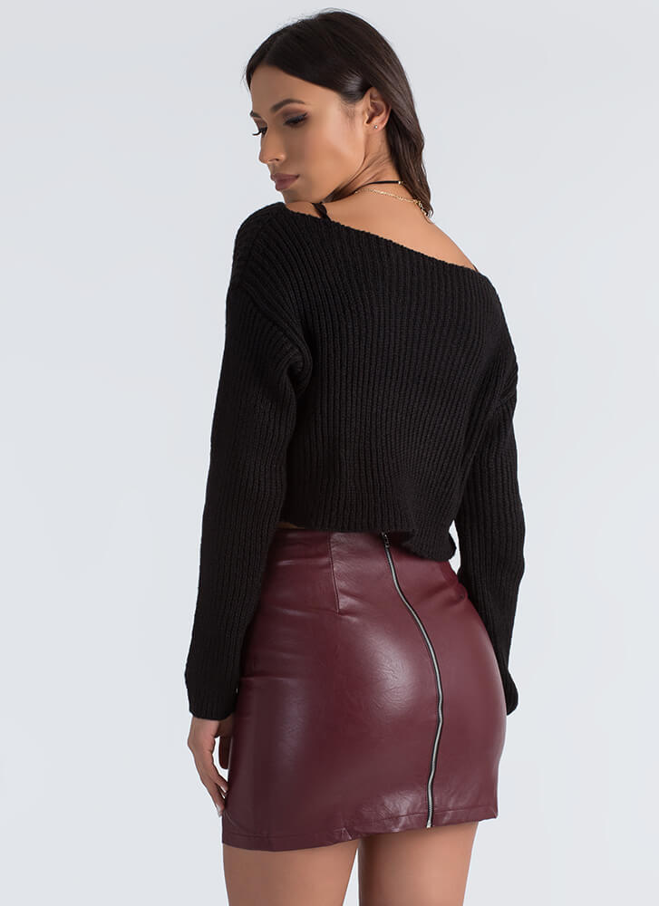 Just Shrug Cropped High-Low Sweater BLACK