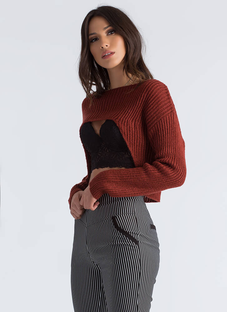 Just Shrug Cropped High-Low Sweater COPPER (Final Sale)