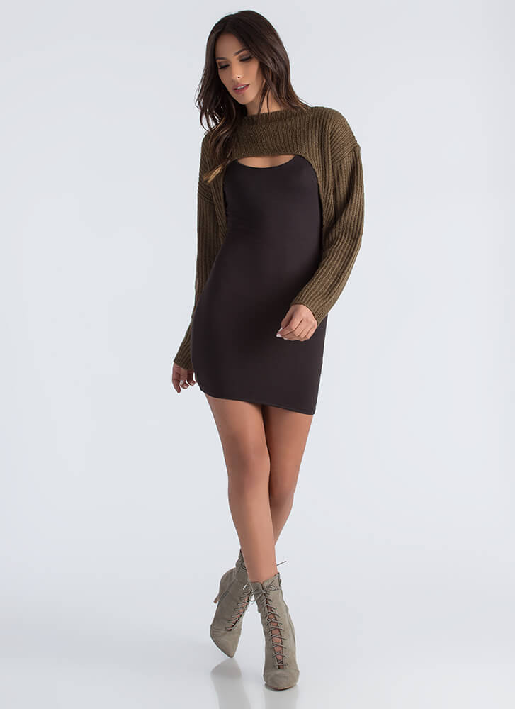 Just Shrug Cropped High-Low Sweater OLIVE