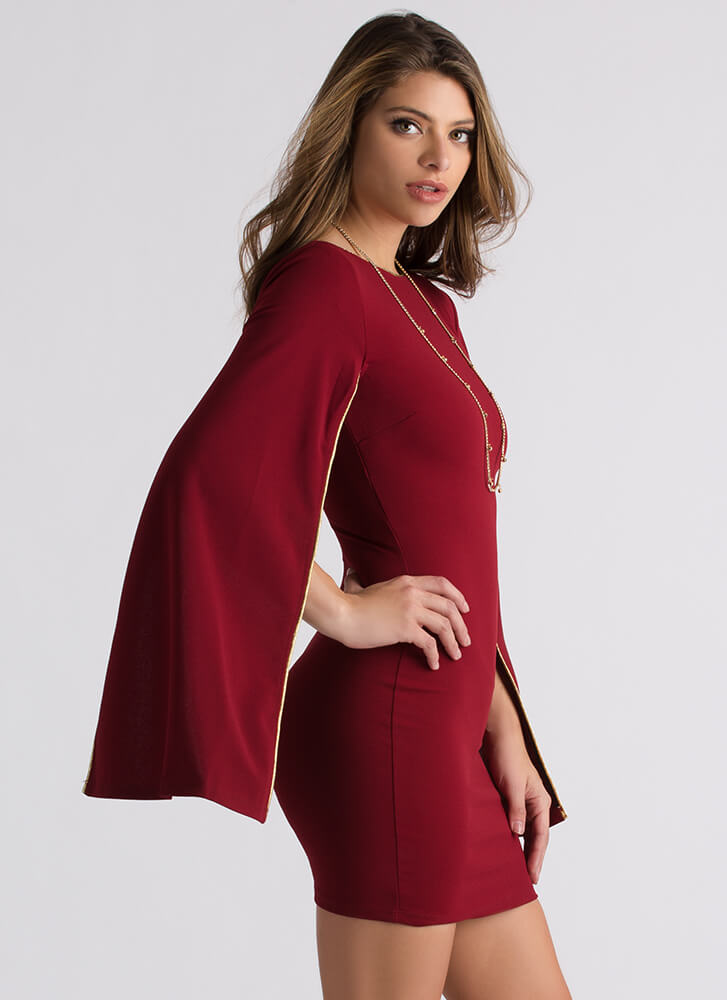 Spread Your Wings Piped Trim Dress BURGUNDY