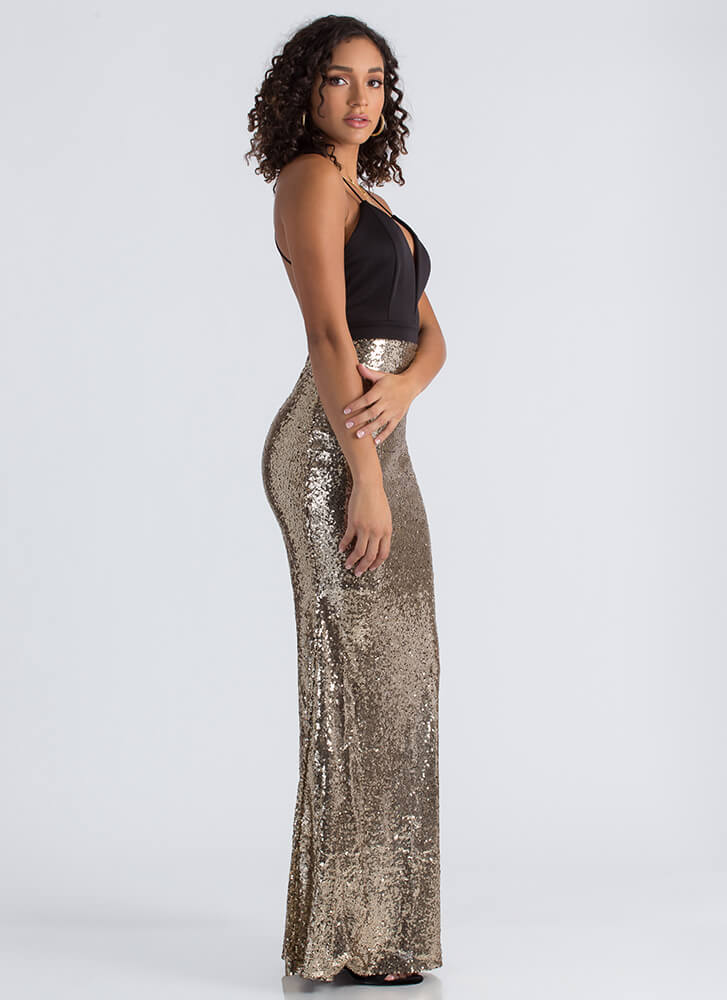 Just Enough Sparkle Sequined Gown GOLD