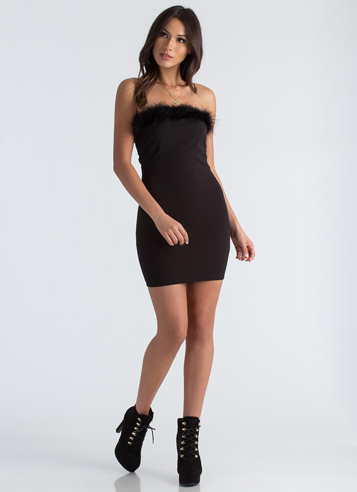 Furry Up And Get Ready Strapless Dress BLACK
