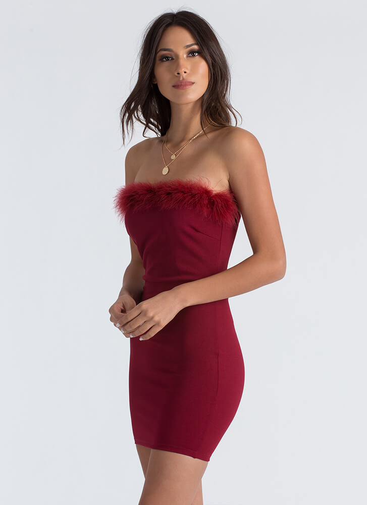 Furry Up And Get Ready Strapless Dress BURGUNDY