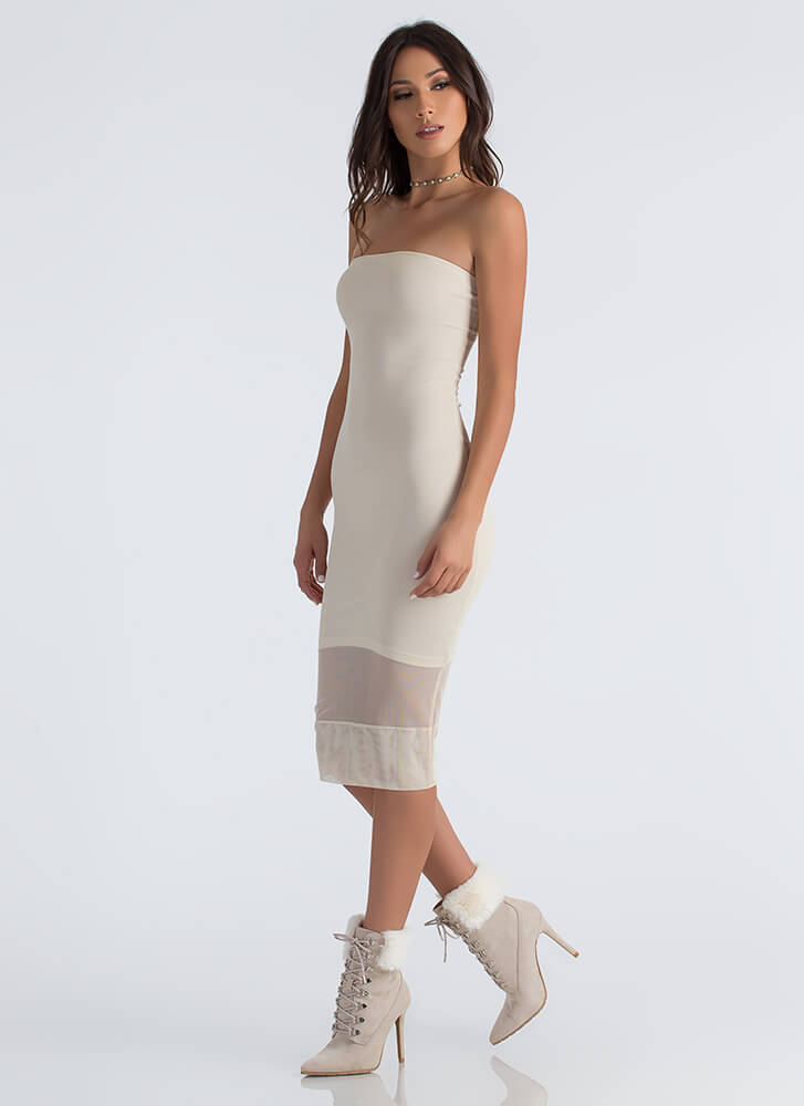 Ready Inset Go Strapless Mesh Dress NUDE