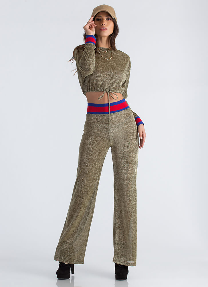 Sporty And Sparkly Top And Pant Set GOLD
