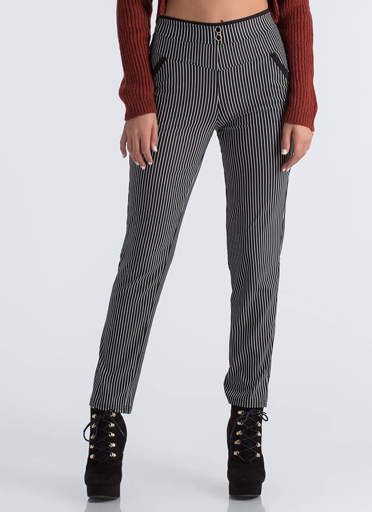 Lines Of Communication Pinstriped Pants BLACK