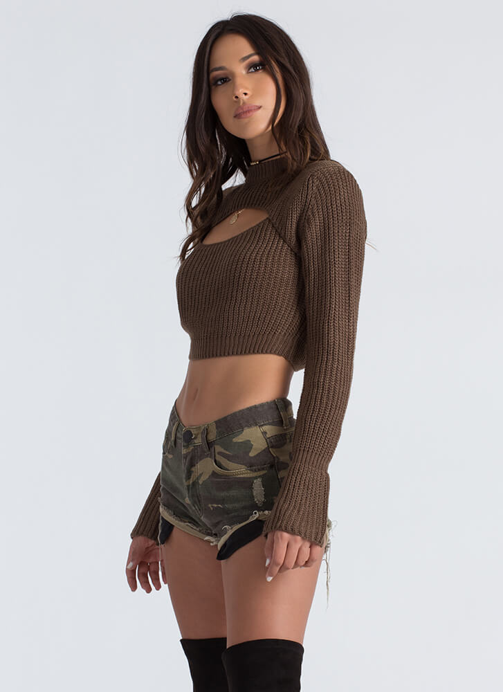 Cut-Off Your Camo Cuffed Denim Shorts CAMOUFLAGE