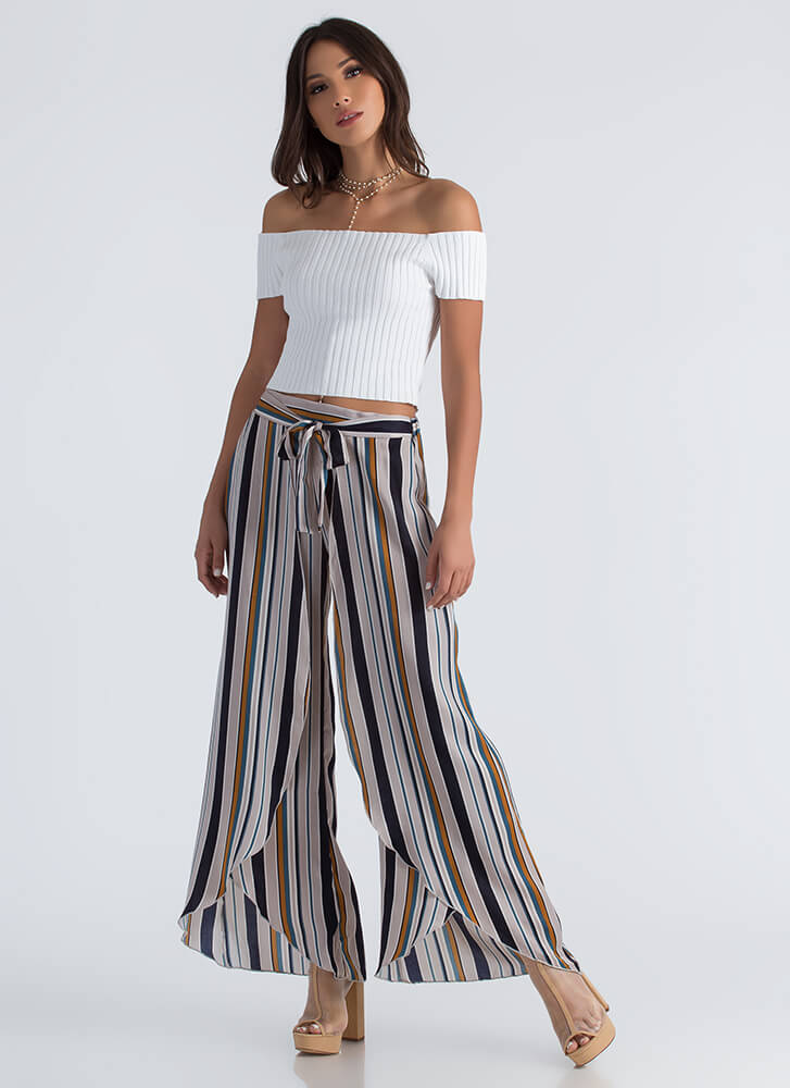 All Lined Up Striped Tulip Hem Pants NAVYMULTI