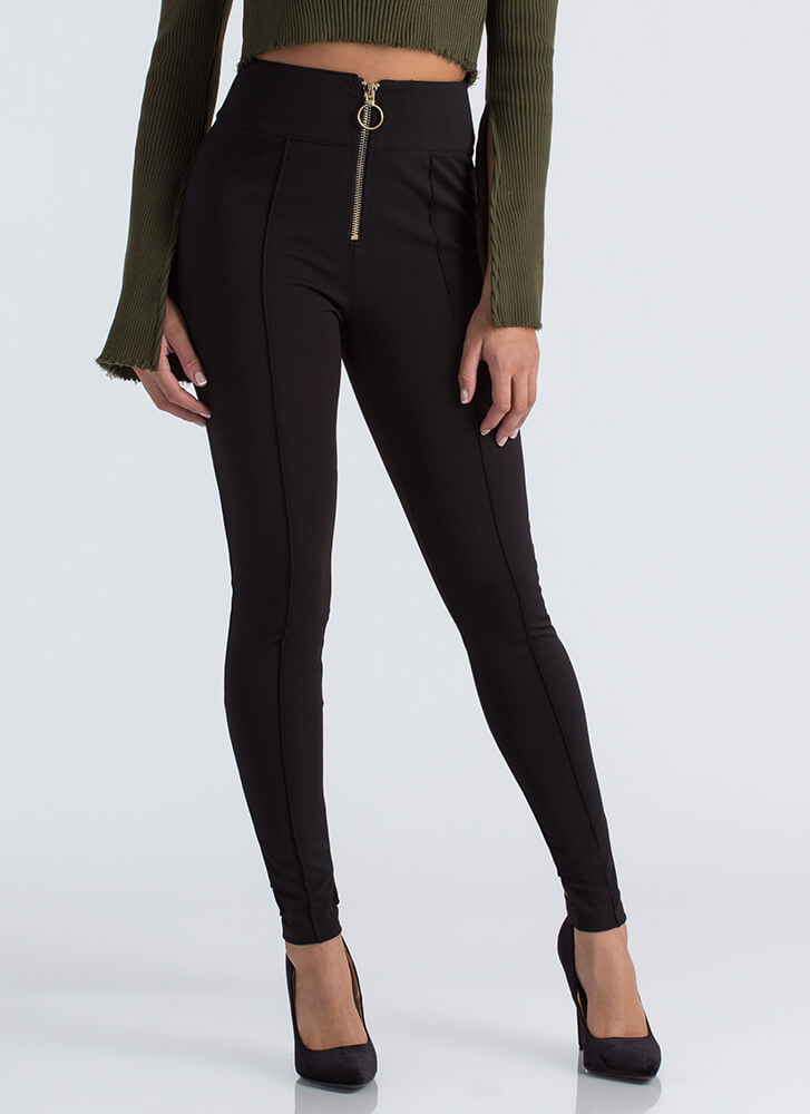 Ring It Up Pleated Cut-Out Skinny Pants BLACK