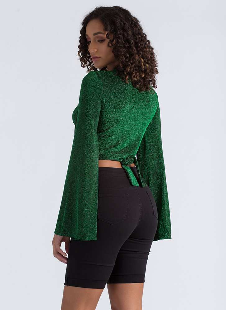 Gift Wrap Glittery Bell Sleeve Crop Top HUNTERGREEN